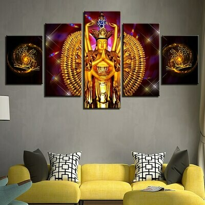 Avalokitesvara Buddha - 5 Panel Canvas Print Wall Art Set