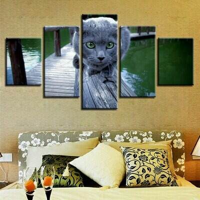 Cute Cat Scenery - 5 Panel Canvas Print Wall Art Set