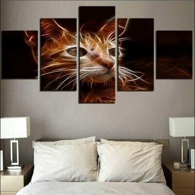 Kitten Wall Art - 5 Panel Canvas Print Wall Art Set