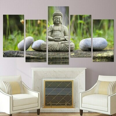 Bamboo Stone Buddha - 5 Panel Canvas Print Wall Art Set