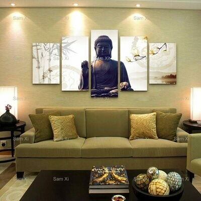 Bring Good Luck - Belief Buddha- 5 Panel Canvas Print Wall Art Set