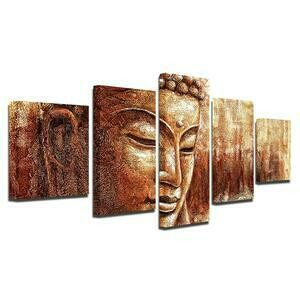 Brown Buddha- 5 Panel Canvas Print Wall Art Set