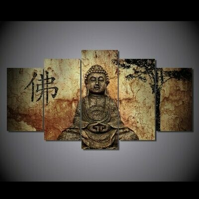 Buddha Abstract- 5 Panel Canvas Print Wall Art Set