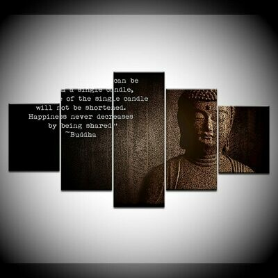 Buddha And Language- 5 Panel Canvas Print Wall Art Set