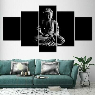 Black And White Buddha- 5 Panel Canvas Print Wall Art Set