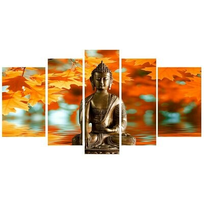Buddha And Autumn Leaves- 5 Panel Canvas Print Wall Art Set