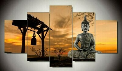 Buddha And Bell- 5 Panel Canvas Print Wall Art Set