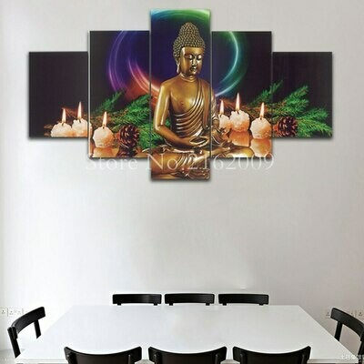 Buddha And Candles- 5 Panel Canvas Print Wall Art Set
