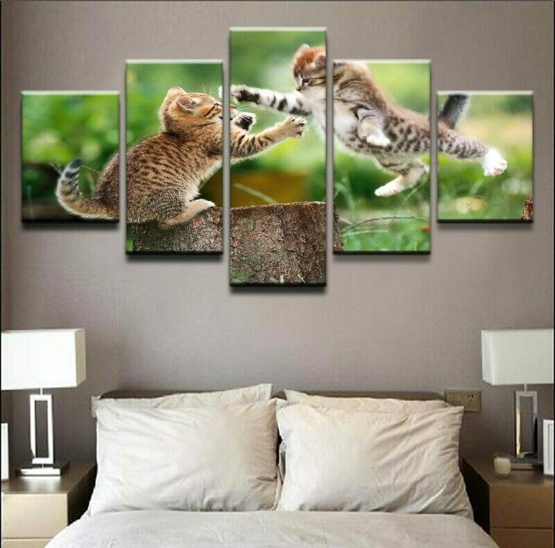 Animal Cat Grass Kitten Stump- 5 Panel Canvas Print Wall Art Set