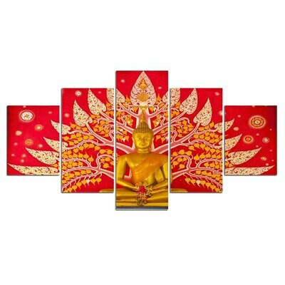 Buddha Buddhism- 5 Panel Canvas Print Wall Art Set