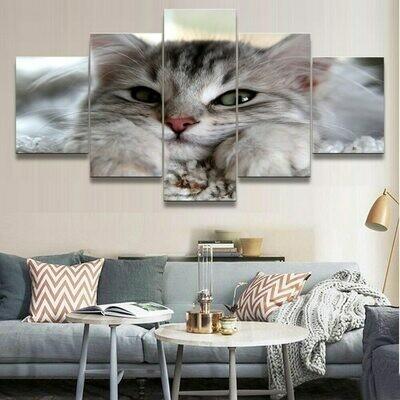 Animal Cat Wall Modular - 5 Panel Canvas Print Wall Art Set