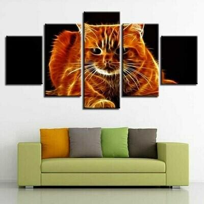 Animal Fire Cat - 5 Panel Canvas Print Wall Art Set