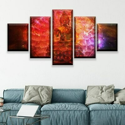 Buddha Colorful- 5 Panel Canvas Print Wall Art Set