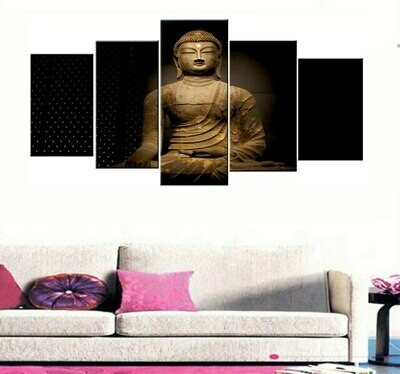 Buddha Cuadros- 5 Panel Canvas Print Wall Art Set