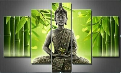 Bamboo And Buddha - 5 Panel Canvas Print Wall Art Set