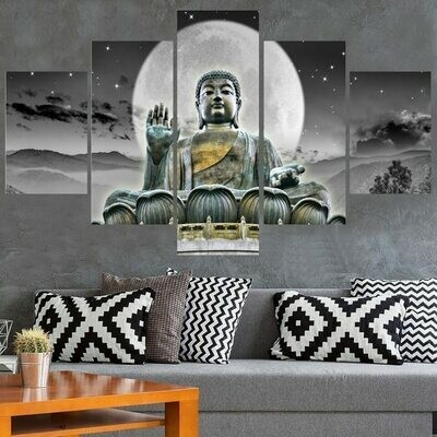 Buddha And Moon- 5 Panel Canvas Print Wall Art Set