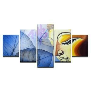 Buddha Face And Leaves- 5 Panel Canvas Print Wall Art Set