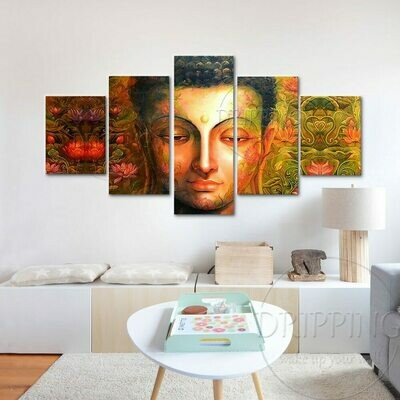 Buddha And Lotus Oil- 5 Panel Canvas Print Wall Art Set