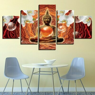 Buddha And White Lanes- 5 Panel Canvas Print Wall Art Set