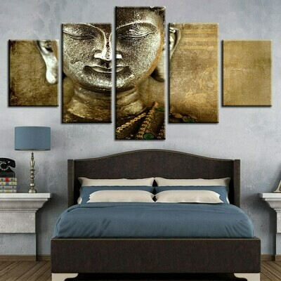 Buddha Conflict Doll Face- 5 Panel Canvas Print Wall Art Set