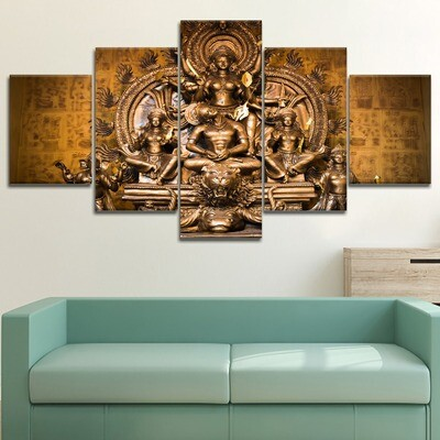 Buddha Faith Cuadros- 5 Panel Canvas Print Wall Art Set