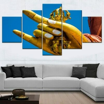 Buddha Hands- 5 Panel Canvas Print Wall Art Set