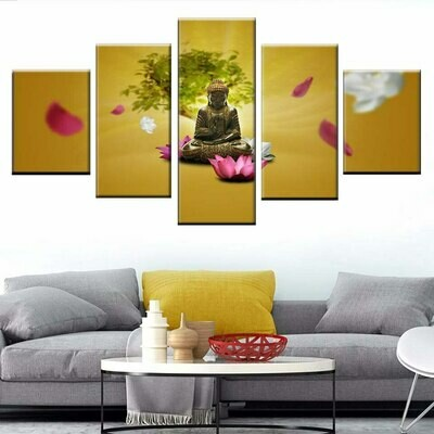 Buddha Lotus- 5 Panel Canvas Print Wall Art Set