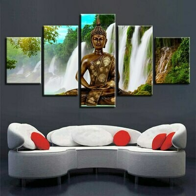 Buddha Meditation Waterfall- 5 Panel Canvas Print Wall Art Set