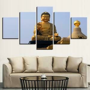 Buddha Modern- 5 Panel Canvas Print Wall Art Set
