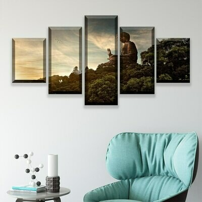 Buddha On The Mountain- 5 Panel Canvas Print Wall Art Set
