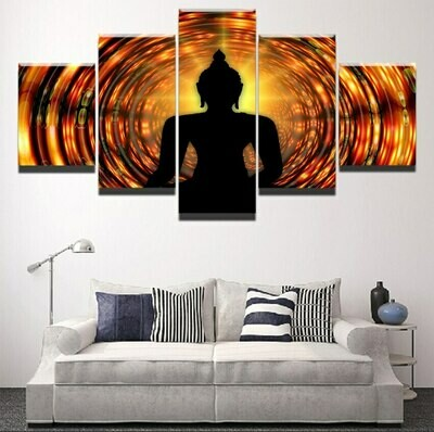 Buddha Backlight Zen Yoga- 5 Panel Canvas Print Wall Art Set