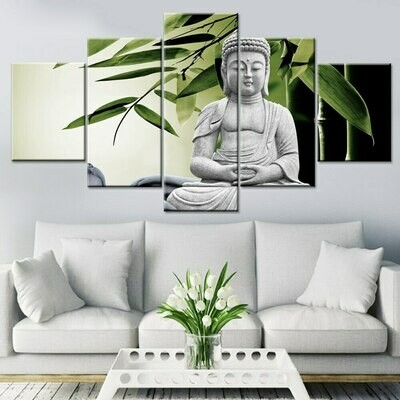 Buddha Bamboo- 5 Panel Canvas Print Wall Art Set