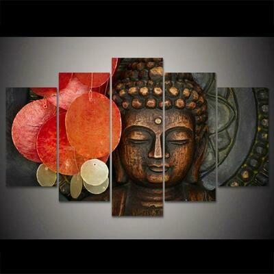 Buddha Buddhism Portrait- 5 Panel Canvas Print Wall Art Set