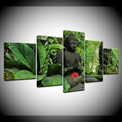 Buddha In Green Forest- 5 Panel Canvas Print Wall Art Set
