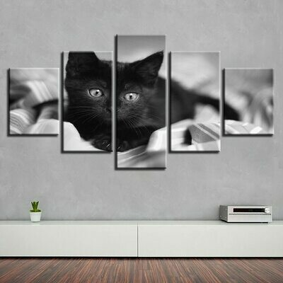 Cat Canvas Painting Lovely - 5 Panel Canvas Print Wall Art Set