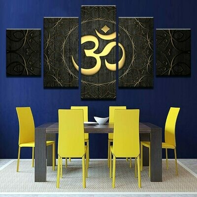 Buddha OM Yoga- 5 Panel Canvas Print Wall Art Set
