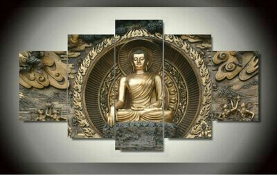 Buddha Quadro- 5 Panel Canvas Print Wall Art Set