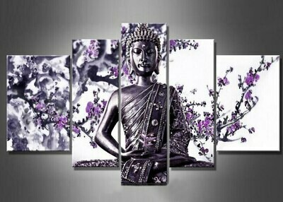 Buddha Flower Oil- 5 Panel Canvas Print Wall Art Set