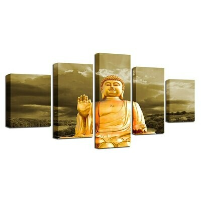 Buddha Golden- 5 Panel Canvas Print Wall Art Set