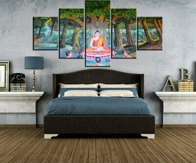 Buddha In Nature- 5 Panel Canvas Print Wall Art Set