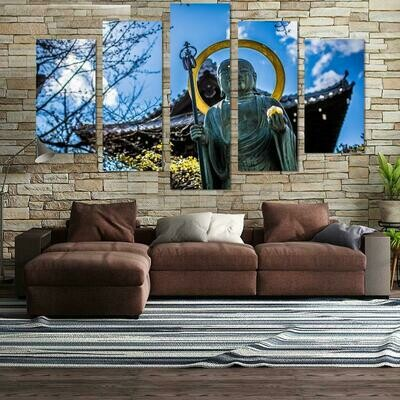 Buddha In The Sun- 5 Panel Canvas Print Wall Art Set