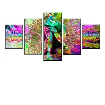 Buddha Mandala Hippie- 5 Panel Canvas Print Wall Art Set