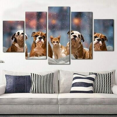 Cute Dogs And Cat - 5 Panel Canvas Print Wall Art Set
