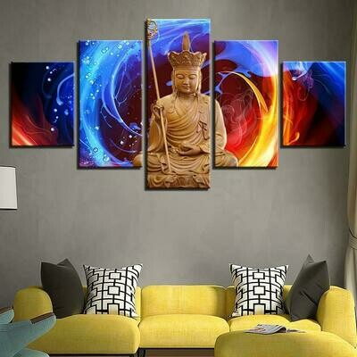 Buddha Fire- 5 Panel Canvas Print Wall Art Set