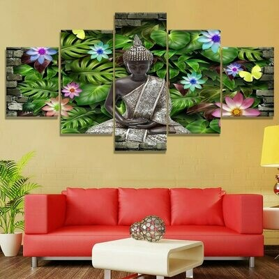 Buddha Flowers Cuadros- 5 Panel Canvas Print Wall Art Set