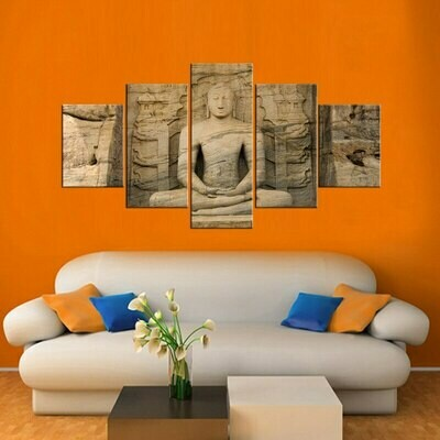 Buddha Meditation Statue- 5 Panel Canvas Print Wall Art Set