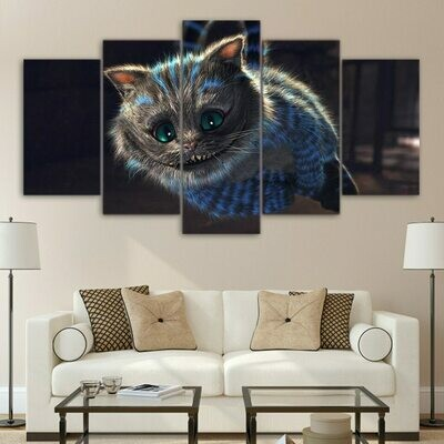 Cheshire Cat Painting Alices Wonderland - 5 Panel Canvas Print Wall Art Set