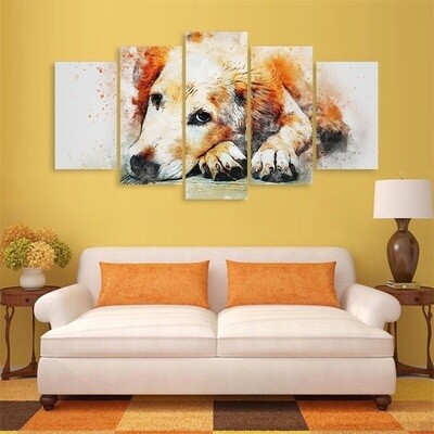 Cute Dog Picture - 5 Panel Canvas Print Wall Art Set