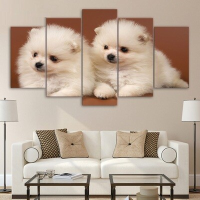 Cute Two Small Dogs - 5 Panel Canvas Print Wall Art Set