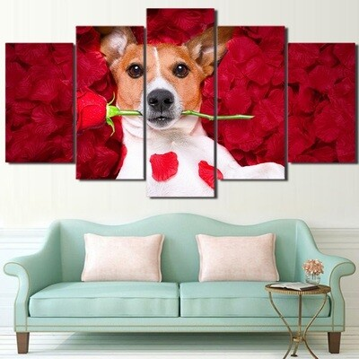 Dog Holding Roses - 5 Panel Canvas Print Wall Art Set